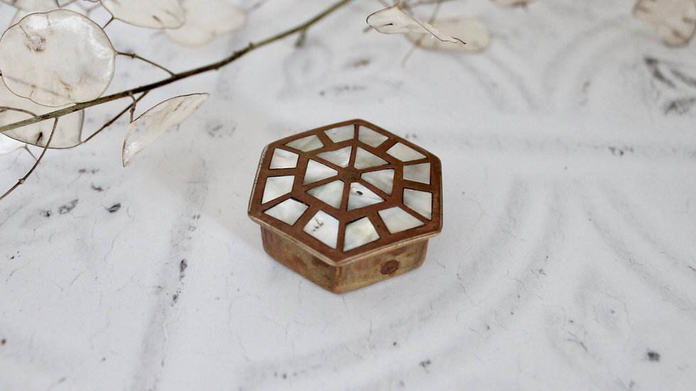 Brass & Mother of Pearl Vintage Box
