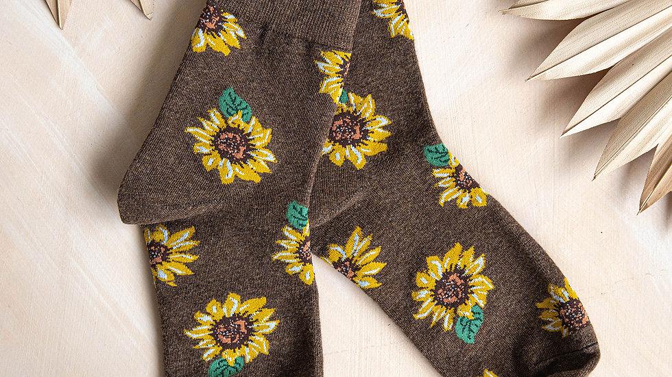 Brown Sunflower Socks