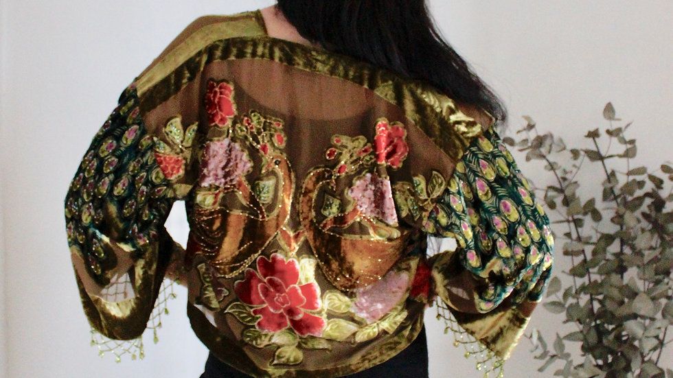 Olive Peacock Kimono