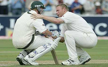 Andrew Flintoff and Brett Lee, Ashes 200