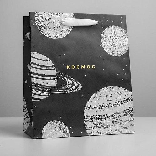 Пакет крафтовый вертикальный «Космос», ML 23 × 27 × 11.5 см