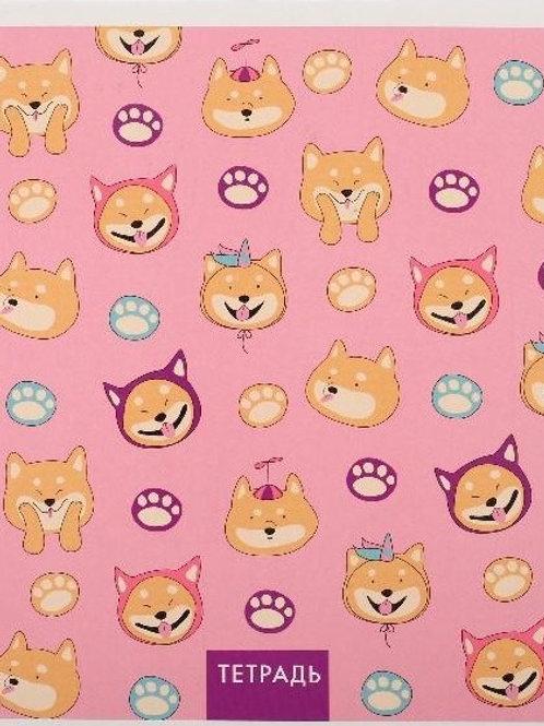 """Тетрадь 48 листов в клетку """"У меня лапки"""", розовая, УФ-лак"""