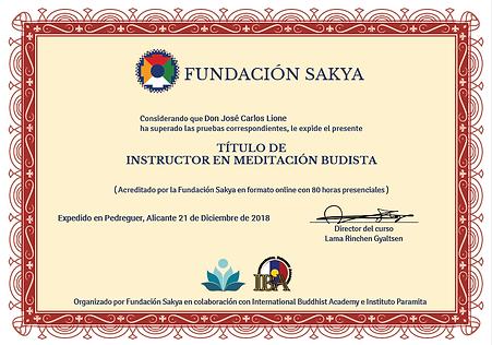 Certificado Instructor Zhineng Qi Gong José Carlos Lione