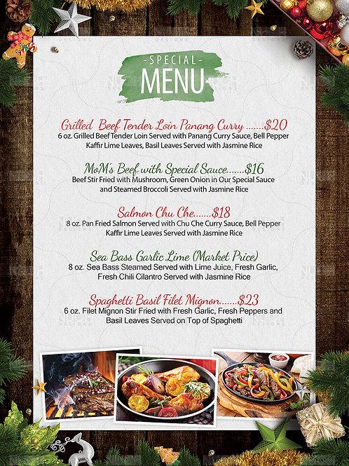 Christmas Restaurant Menu Flyer