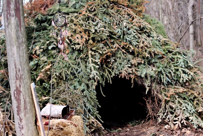 Wigwam made from recycled Christmas trees at Purple Woods Conservation Area