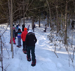 Imag of Students with Snowshoes in the Forest