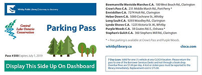 Image of Whitby Library's CLOCA Parking Pass