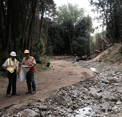 Image of a construction site where a watercourse is being altered
