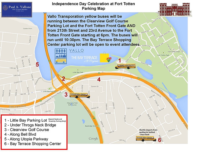 Bayside Historical Society Fireworks Parking Map