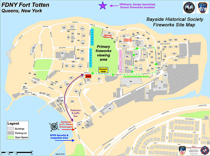 Bayside Historical Society Fireworks Site Map