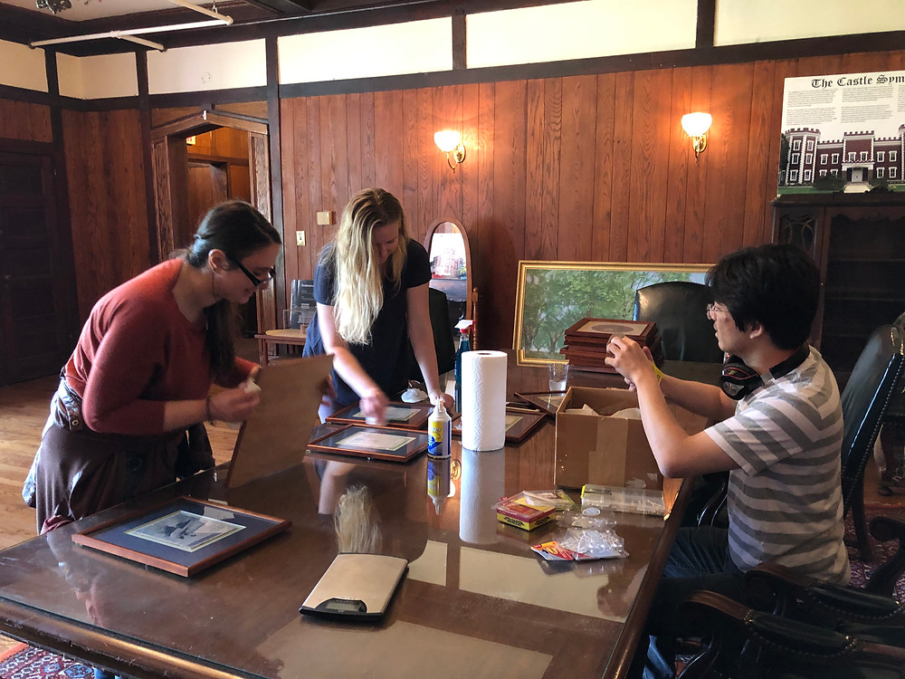 BHS staffers preparing an exhibit