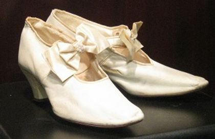 Bridal shoes, circa 1920. Gift of Joan Brown Wettingfeld.