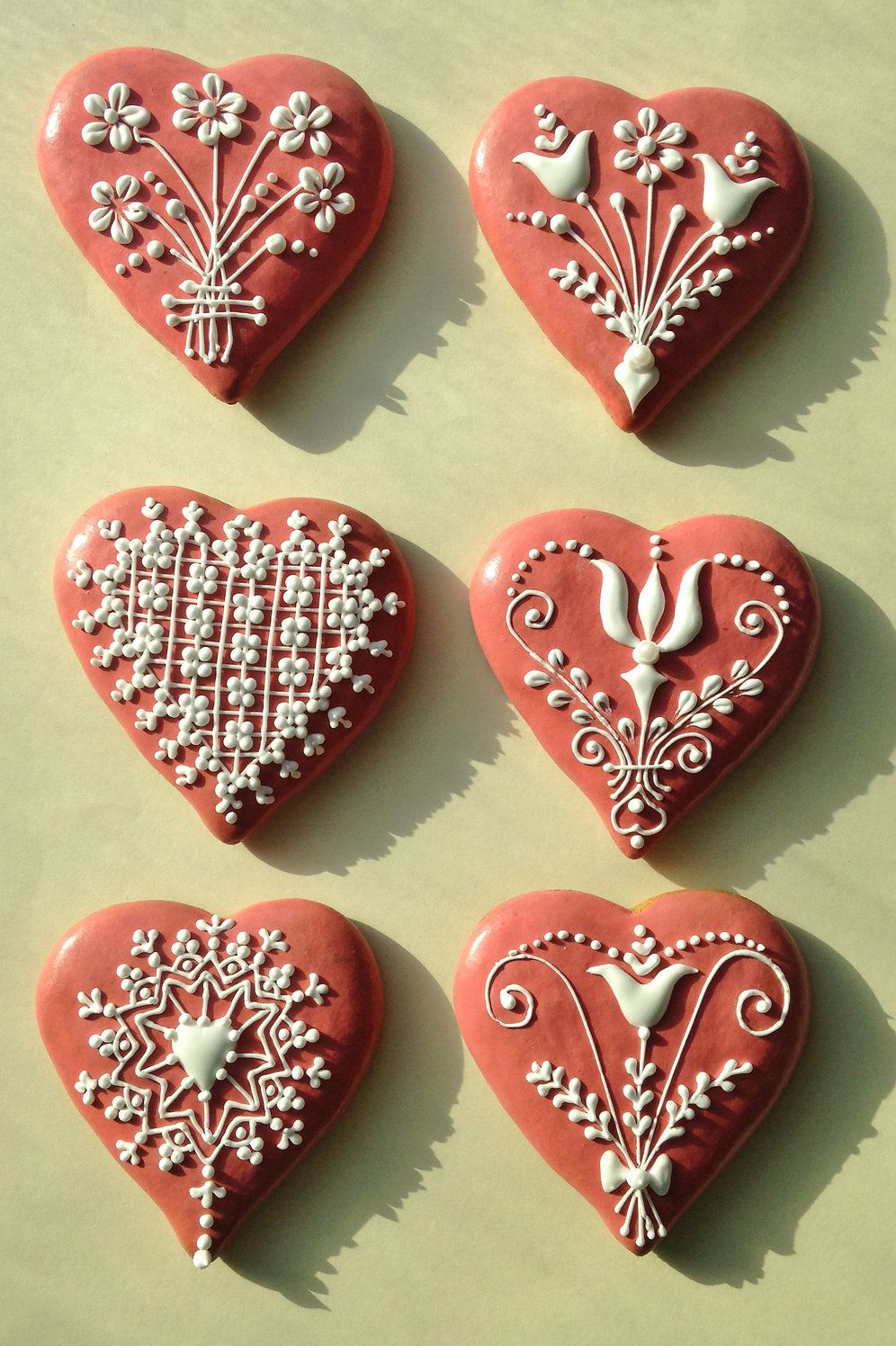 Pink Honey Hearts Heart Shaped Icing Decorated Gingerbread Cookies 6pcs Zsuzsa Miny Gifts