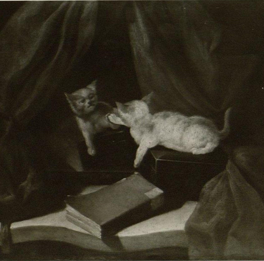 """Chardin's """"Reflected White cat on a black lacquer box with brick-red curtain"""" (1749)"""