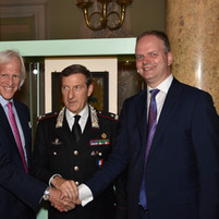 With General Fabrizio Parrulli and Director of Uffizi Gallery Eike Schmidt, at the return ceremony of Van Huysum's Vase of Flowers.