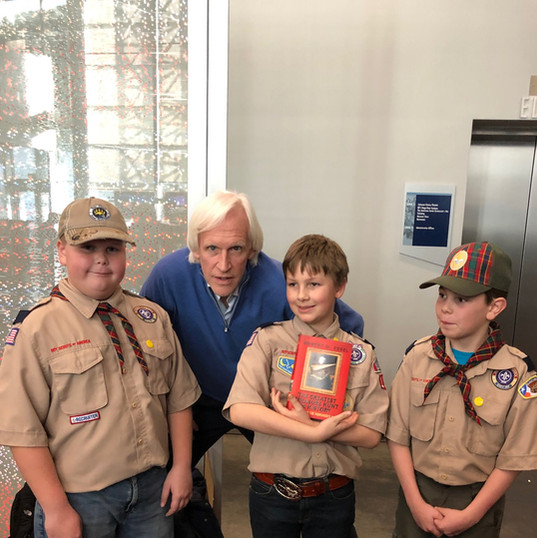 At the National WWII Museum speaking to Boy Scouts about my book The Greatest Treasure Hunt in History.