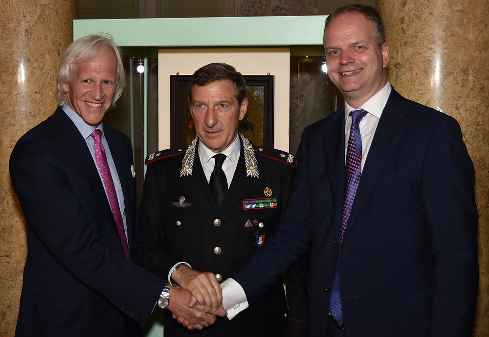 Robert Edsel, General Fabrizio Parrulli and Eike Schmidt. (Photo courtesy of Carabinieri TPC)