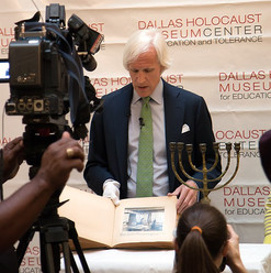 This menorah, brought back to the United States by a World War II veteran, once graced the home of a Jewish family that perished during the Holocaust. It was a source of great pride to know that this donation to the Dallas Holocaust and Human Rights Museum would serve as an important reminder that Jewish culture survived the most destructive war in history. (May 2016)