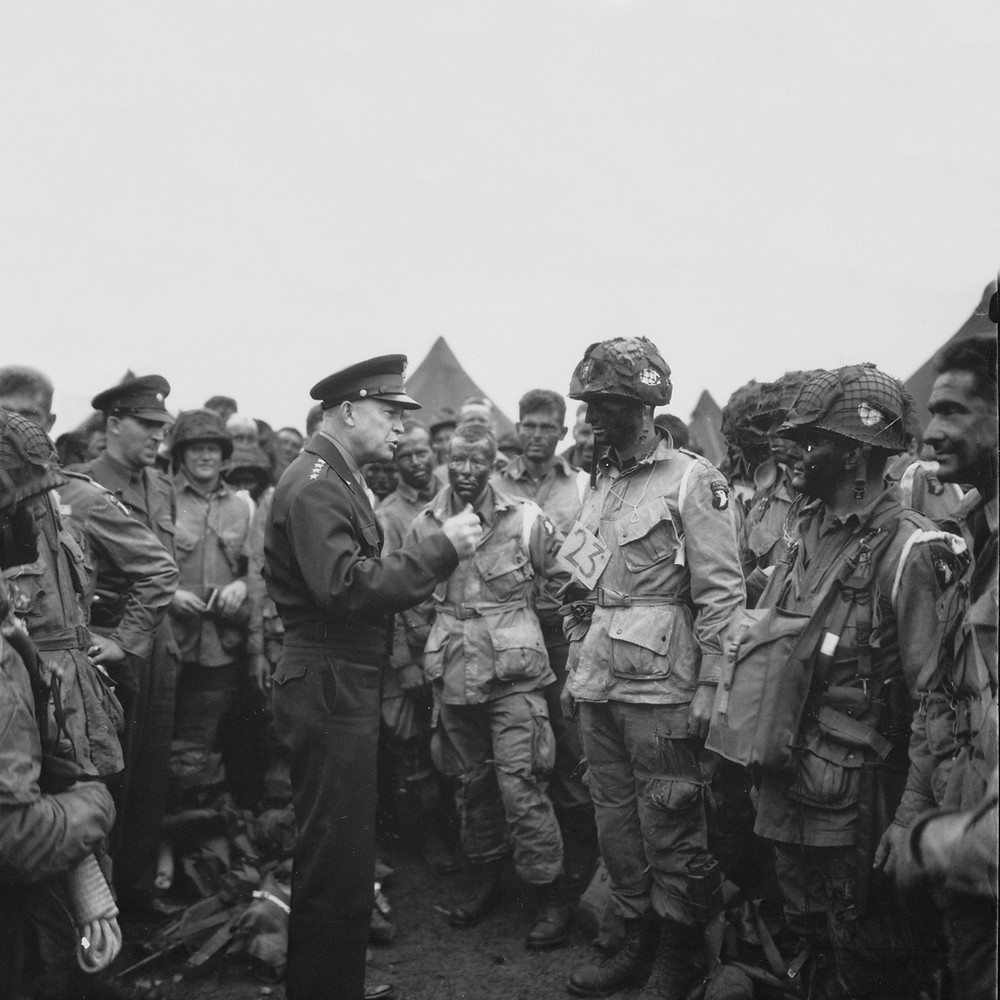 General Dwight D. Eisenhower addresses American paratroopers prior to D-Day.  (NARA)