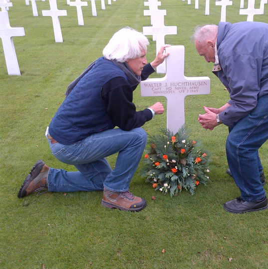 At the Netherlands American Cemetery with Monuments Man Harry Ettlinger, paying our respects to Captain Walter Huchthausen, one of two Monuments Men killed in action. (September 2012)