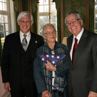 In London, with the United States Ambassador to the United Kingdom, Mr. Robert H. Tuttle, to honor Monuments Woman Anne Olivier Popham Bell. (December 2007)