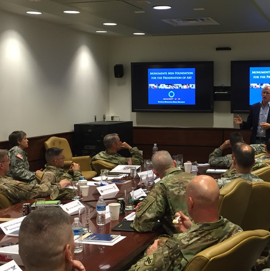 Speaking at Fort Meade to a detachment of U.S. Army Reserve Civil Affairs officers – today's Monuments Men and Women – about the heritage of their predecessors, and also hear about some of the modern day challenges they regularly confront. (May 2016)