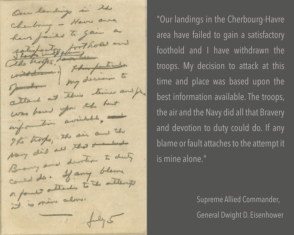 Eisenhower's never-delivered remarks explaining the reason for the failure of the mission (NARA/Eisenhower Library)