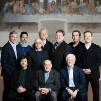"A rare honor: filming inside the refectory of Santa Maria delle Grazie Church in Milan, Italy, in front of Leonardo da Vinci's masterpiece, Last Supper, with Monuments Man Harry Ettlinger and the cast of George Clooney's film ""The Monuments Men"". (February 2014)"