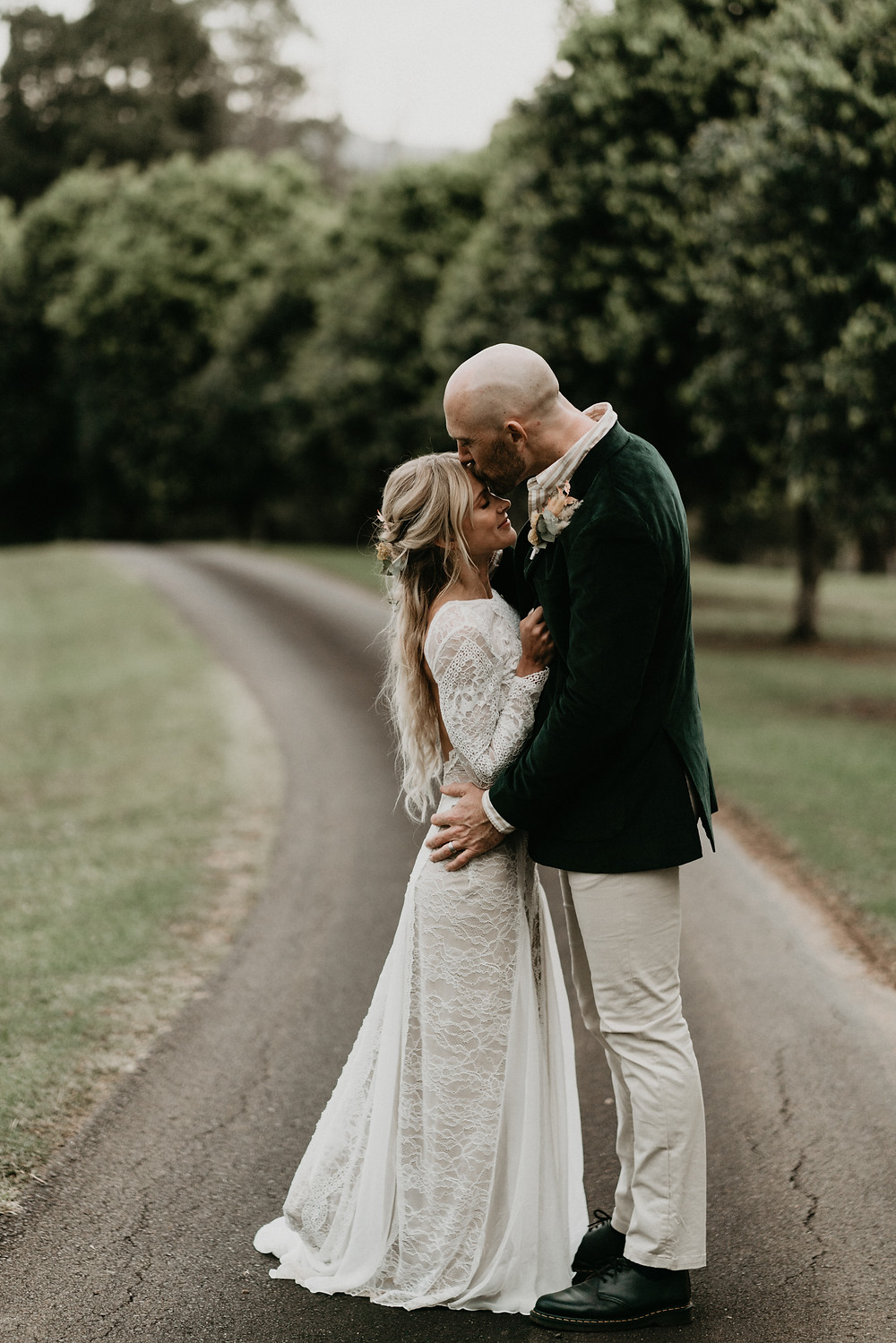 young boho couple celebrate their wedding day in a vineyard in byron bay