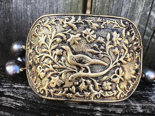 Vintage Metal and Pearl Bracelet