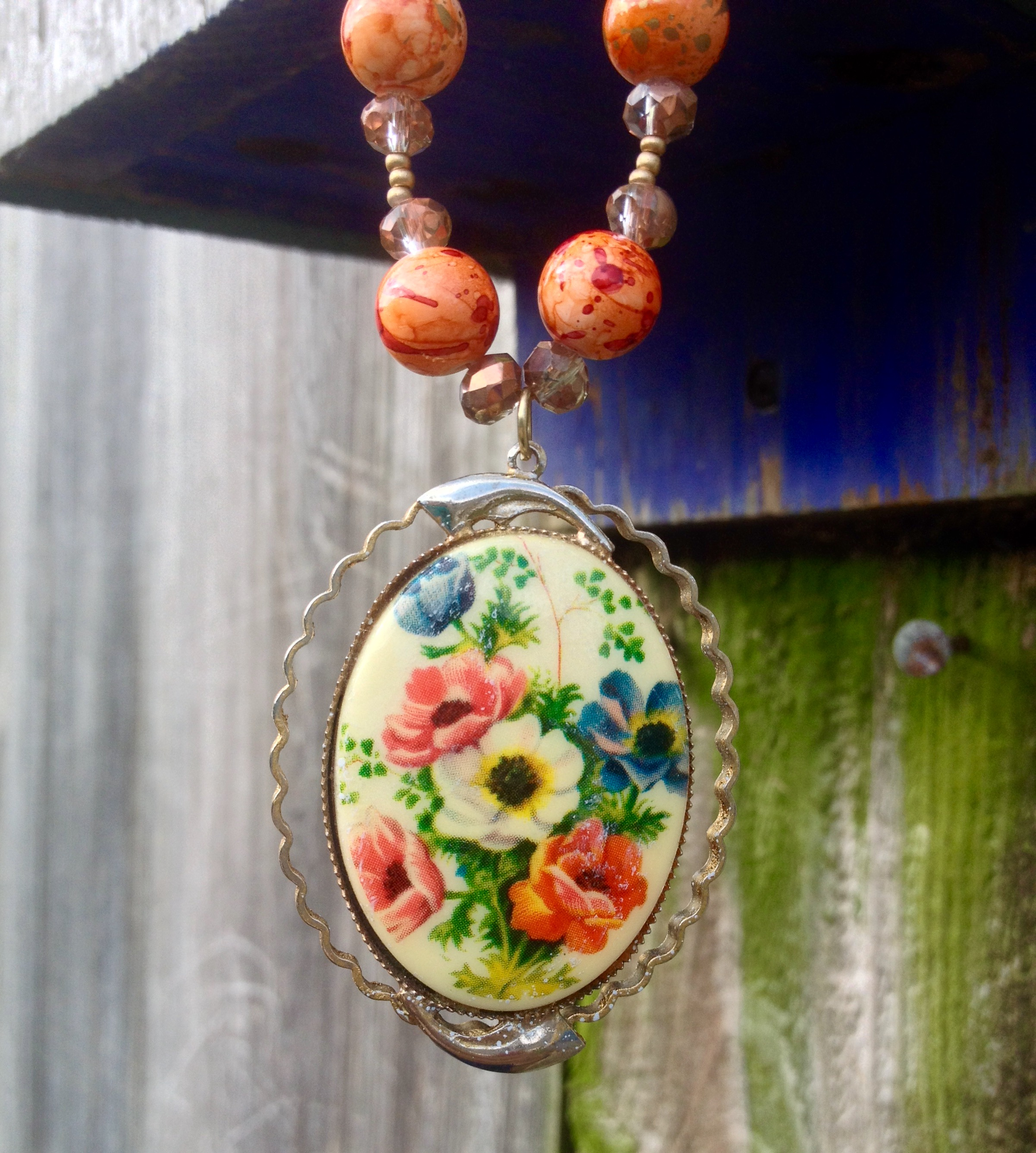 Floral Brooch Necklace