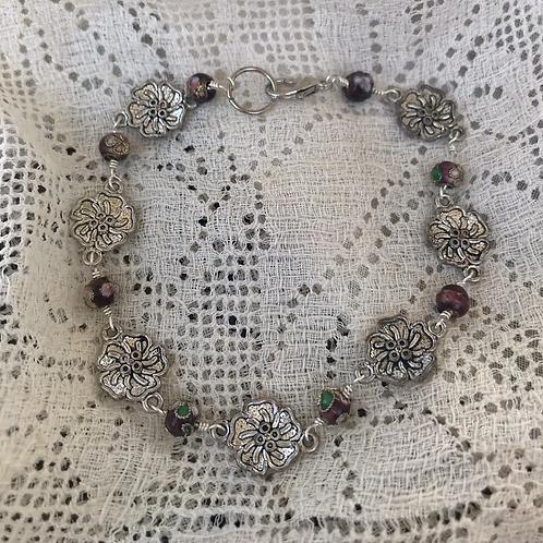 Floral Bracelet with Cloissoné Beads