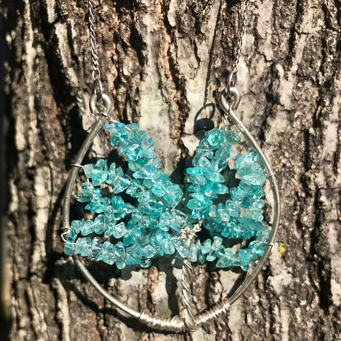 Apatite and Sterling Silver Tree of Life