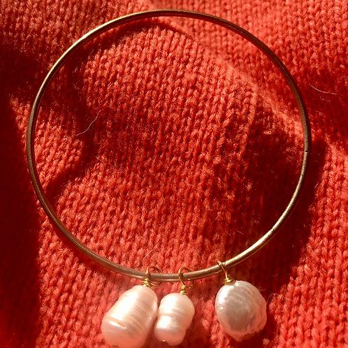 Vintage Bangle and Pearl Bracelet