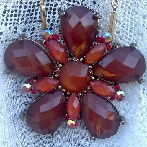 Amber Star and Heart Necklace