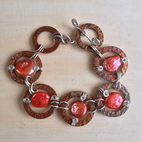 Copper & Sterling Silver with Pearl Coins