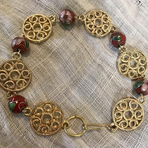 Spiral and Cloissoné Bracelet