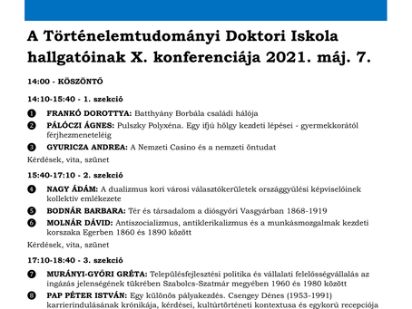 Doktori konferenciát szervez az Eszterházy Károly Egyetem Történelemtudományi Doktori Iskolája