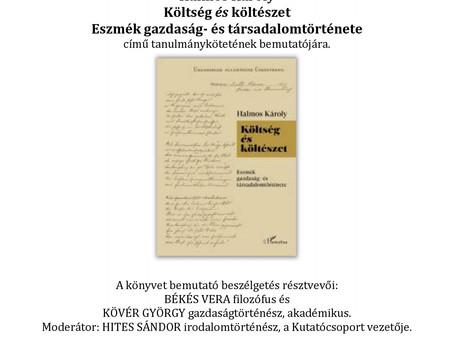 Halmos Károly: Költség és költészet című kötetének bemutatója!