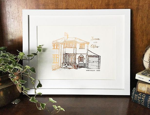 Bespoke House Foiled illustration