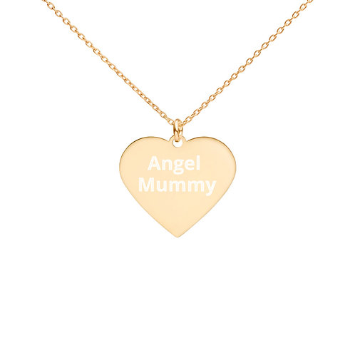 Engraved Silver Heart Necklace Angel Mummy