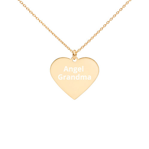Engraved Silver Heart Necklace Angel Grandma