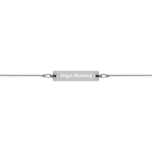 Engraved Silver Bar Chain Bracelet Angel Mummy