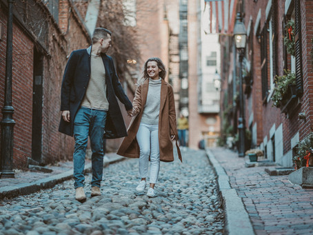 Engagement photo session at Acorn street || Boston engagement photographer