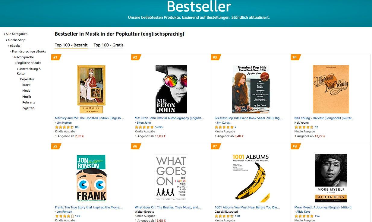 Germany 2020 - Bestseller in Musik in der Popkultur (englischsprachig)