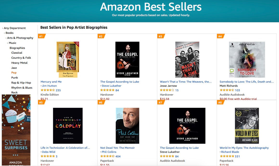 USA - Best Seller Pop Artist Biographies