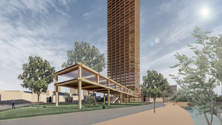 Design propositrou of a high-rise building by engineered wood in Qingdao