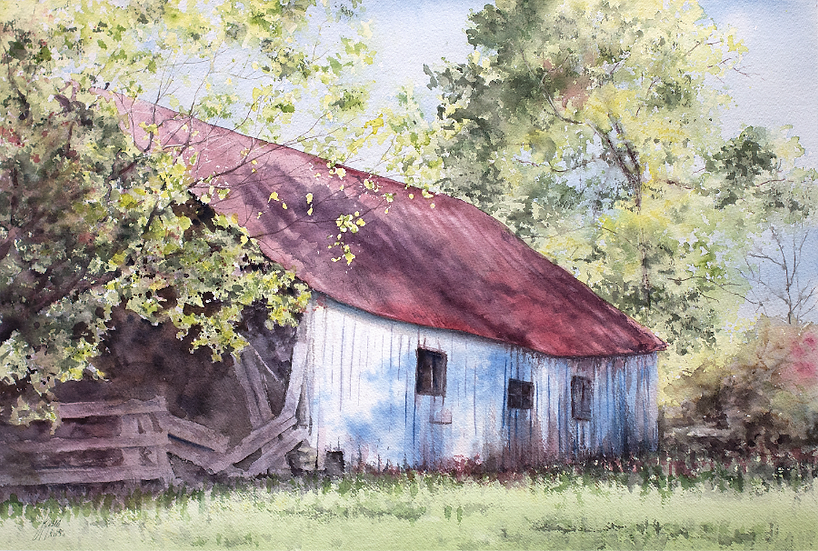 Barn in Red and Blue