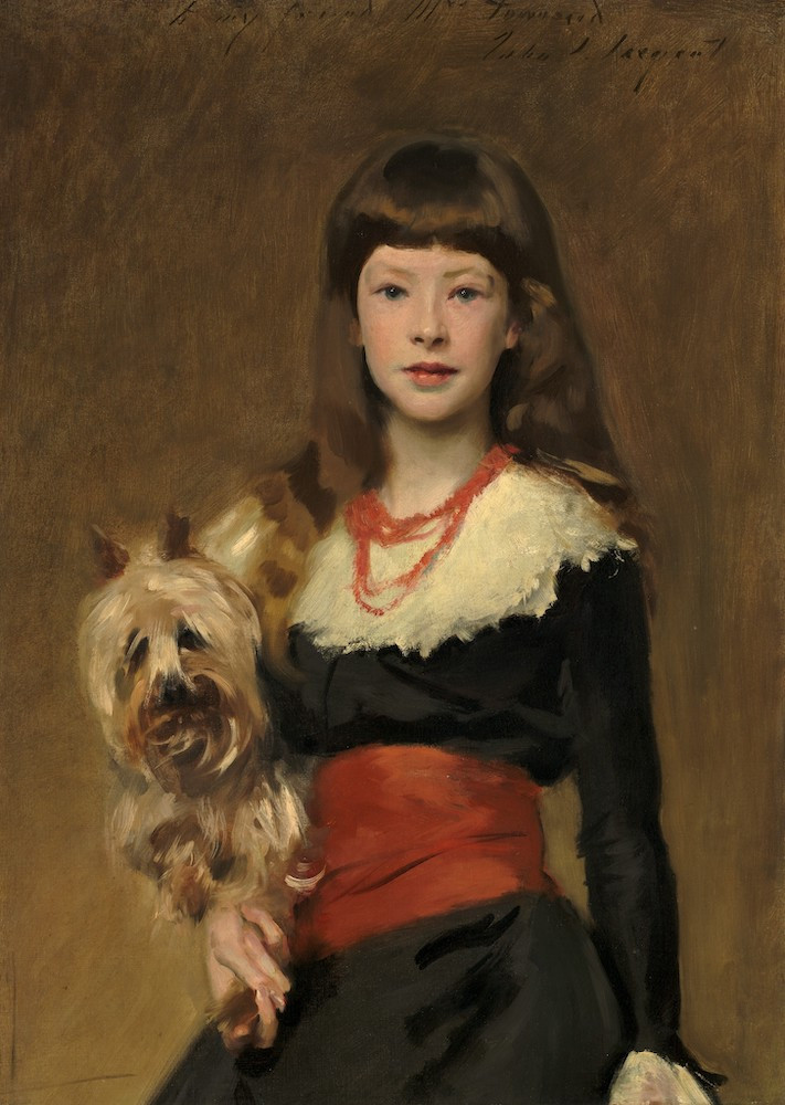 Painting by John Singer Sargent of a girl and her dog.