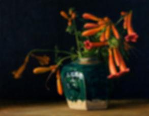 Trumpet Vines in Ginger Jar by Elizabeth Floyd
